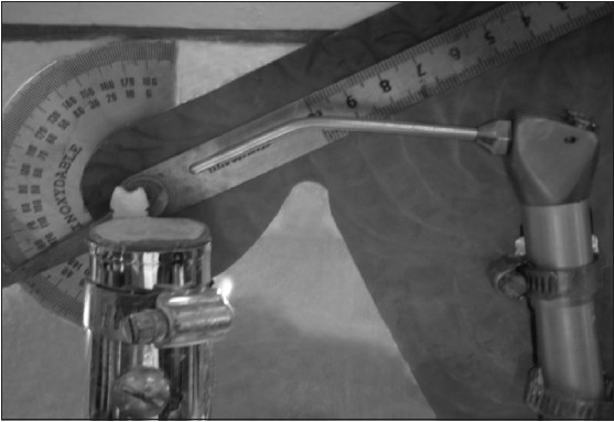 Figure 1: A water syringe mounted onto a protractor to determine the exact rinsing angle